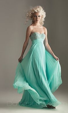 Tiffany-blue colored gown.