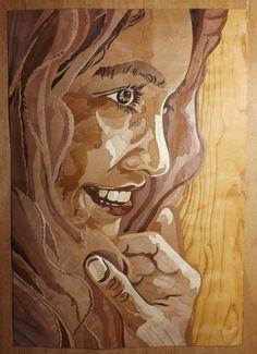 """Rutger Hauer by Diederick Kraaijeveld. #art #portrait #sculpture #wood #recycled #Diederick #Kraaijeveld"""
