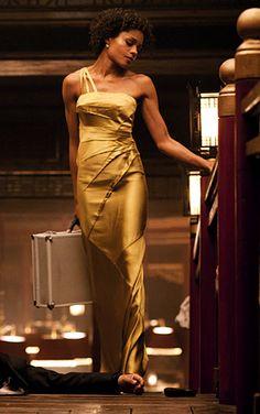Golden Bond girl Naomie Harris in an Amanda Wakeley gown during the casino scene, via #Skyfall Costume Designer Jany Temime