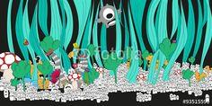 Vector: Cartoon fantasy world for kids #fotolia #illustration #fantasy #world #monsters #children #kids #happy #fun #land #flowers #party #cover #print #poster #card #postal