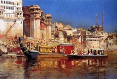 The Barge Of The Maharaja Of Benares - Oil Painting by American Artist Edwin Lord Weeks