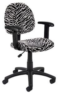 Boss Zebra Print Microfiber Deluxe Posture Chair with Adjustable Arms