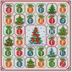 Christmas Alphabet Ornament Sampler Cross Stitch Pattern PDF Format