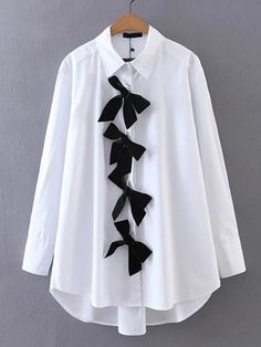 Sheinside White Bow Front Shirt High Low Casual Blouse 2017 Long Sleeve Brief Women New Tops Elegant Lapel Collar Cotton Blouse Cute Blouses, Cotton Blouses, Blouses For Women, Girls Fashion Clothes, Fashion Outfits, Boyfriend Shirt, Blouse Online, Blouse Styles, Cute Casual Outfits