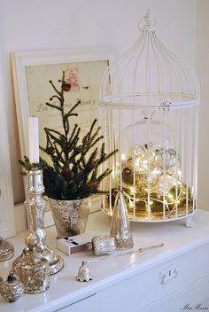 bird cage and mercury glass