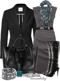 """Missoni Scarf"" by wannabchef on Polyvore-great outfit for work-except the boots, I'd end up a cripple after 8 hours."