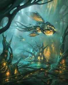 Sci fi fantasy art world 53 Ideas Fantasy Concept Art, Dark Fantasy Art, Sci Fi Fantasy, Fantasy Artwork, Fantasy World, Fantasy Art Landscapes, Fantasy Landscape, Sci Fi City, Arte Cyberpunk