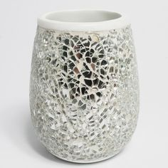 silver crackle bathroom accessories. N Silver Cracked and Ivory Hand Crafted Bath Accessory Collection Crackle Mirror Glass Bathroom Sparkle Glitter Bin New
