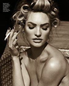 Candice Swanepoel, Edita Vilkeviciute + Hailey Clauson Are Sexy Cowgirls for Vogue Germany by Mario Testino Hair rollers for that sexy curl Sexy Make-up, Edita Vilkeviciute, Vogue Spain, Vogue Brazil, Glamour, Girl Smoking, Smoking Pics, Smoking Images, South Beach