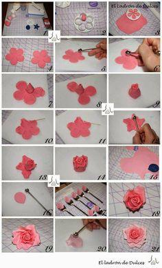 Cómo hacer una rosa con pasta de goma How to make a rose with gum paste
