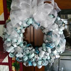 Winter curly wreath with Stampin up winter dsp paper