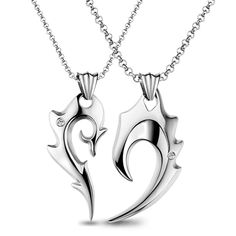 20 Elegant Valentine's Day Jewelry 2015 - London Beep  #beautiful #jewellery #valentine'day #2015 Couple Necklaces, Couple Jewelry, Matching Necklaces, Matching Jewelry For Couples, Tungsten Bracelet, His And Hers Jewelry, Heart Pendant Necklace, Heart Pendants, Heart Necklaces
