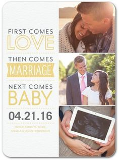 First comes love, then comes marriage, next comes baby. Share your joyous news with a pregnancy announcement to mark the occasion.