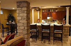 Pictures Of Bars In Finished Basements - Bing Images- would love a milk shake bar for the kids Rustic Basement Bar, Small Basement Bars, Basement Bar Plans, Basement Bar Designs, Basement Kitchen, Basement Remodeling, Basement Ideas, Warm Kitchen, Basement Gym