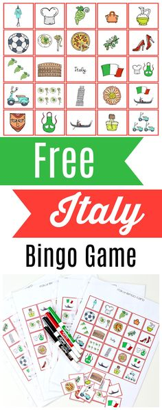 Free printable Italy Bingo Game! Fun activity for kids of all ages!
