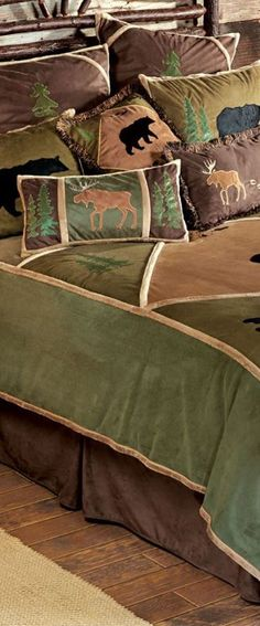 Bear Tracks Rustic Bedding by shopportunity Home Decor Bedding, Rustic Bedding, Bedroom Decor, Bedroom Ideas, Rustic Cabin Decor, Lodge Decor, Cabin Homes, Log Homes, Wildlife Decor