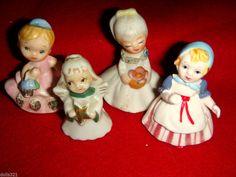 LITTLE GIRL FIGURINES, ANGEL, LOT OF 4, VINTAGE ESTATE