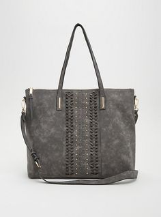 Faux Leather Stitched Studded Tote,