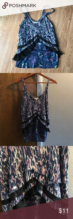 """Urban Outfitters """"Silence + Noise"""" Tank Top Urban Outfitters Multi-Layer Tank Top. One of the layers is lace and Chiffon. Main color is a pretty purple print. Barely worn but a great """"Night on The Town"""" top! Urban Outfitters Tops Tank Tops"""