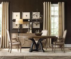 Corsica Round Pedestal Table Dining Room Set | Hooker Furniture | Home Gallery Stores