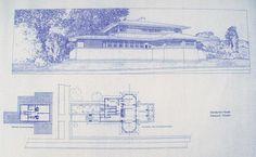 Frank Lloyd Wright Henderson House Blueprint by BlueprintPlace, $18.99
