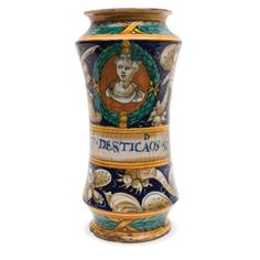 An albarello vase, Casteldurante, mid 16th century Maiolica Altezza cm 28,2 lievi incrinature e base con riparazione visibile. Provenienza: collezione privata, Albarello a corpo cilindrico, leggermente… - Cambi Casa d'Aste - 25/10/2016