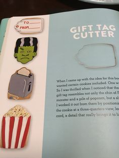 Decorated Cookie ideas using a gift tag shaped cutter. Toaster, Monster and Popcorn
