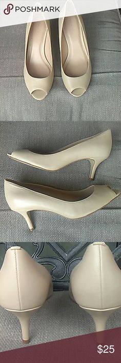 "Nude  low heel peep toe  shoes. Leather  with padded insole makes this the perfect shoe for Spring and Summer. Comfortable and wear with anything neutral. 2.5"" heel. Tahari Shoes"