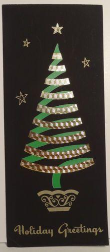 50s Mid Century Modern Foil Tree Vintage Christmas Card 1179 | eBay