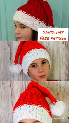 Santa Hat Free crochet pattern The Effective Pictures We Offer You About crochet purse A quality picture can tell you many things. Crochet Santa, Free Crochet, Knit Crochet, Crochet Toys Patterns, Knitting Patterns, Knitting Hats, Free Knitting, Crochet Videos, Santa Hat