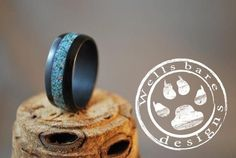 Bentwood ebony with turquoise inlay custom handcrafted steam bent wood rings durable, unique, one of a kind, wedding bands