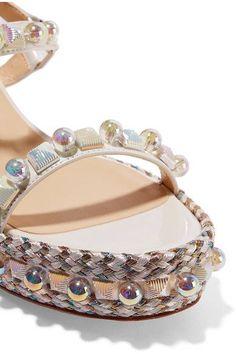 Christian Louboutin - Cataconico 60 Embellished Leather Wedge Sandals - White