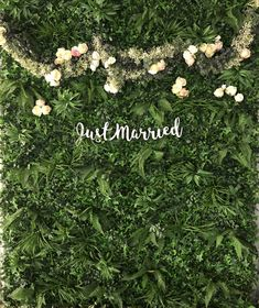 Just Married faux foliage Backdrop bore inspiration blog   The word is love