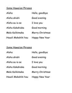 Hawaiian Words And Phrases