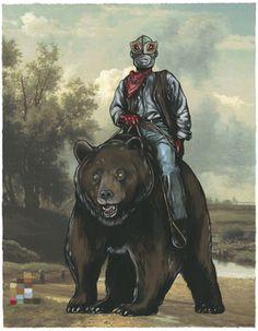 Untitled (Thundermask W/Bear) by Steve Seeley Bear Paintings, Indie Art, Affordable Art, Framed Art, Illustration Art, Sneaker Release, Artist, Illustrator, Hidden Pictures