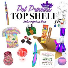 """Our """"Pot Princess"""" TOP SHELF Box is a stoner box created for the fanciest pot…"""