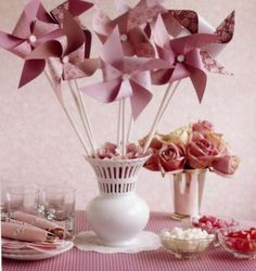 Table centrepiece - pinwheels in coordinating scrapbook papers