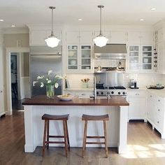 All white with butcher block