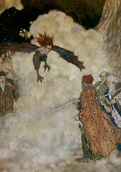 edmund dulac: 1908 illustration for shakespeare's the tempest (act iii, scene iii)