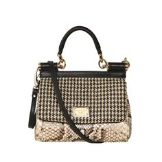 Dolce & Gabbana Small Miss Sicily Leather & Python Bag ($741) ❤ liked on Polyvore featuring bags, handbags, shoulder bags, purses, borse, сумки, man bag, leather hand bags, genuine leather shoulder bag and leather shoulder bag