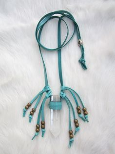 Quartz Crystal Necklace Turquoise Leather ~ Crystal Visions