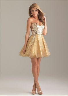 Short Strapless Sparkle Prom Dress