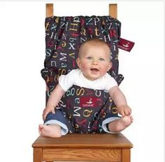 Portable fabric sling turns any chair into a high chair.