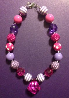 Girls Chunky Necklace, Girls Bubblegum Chunky Necklace, Pink and Purple Chunky Necklace on Etsy, $18.00