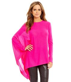 Gianni Bini Kendra Round Neck Single Poncho Sleeve Asymmetric Sweater