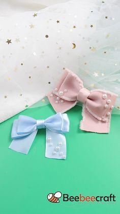 Diy Ribbon, Ribbon Bows, Fabric Bows, Fabric Flowers, Ribbon Crafts, Ribbon Hair Clips, Diy Hair Bows, Ribbon Jewelry, Felt Hair Accessories