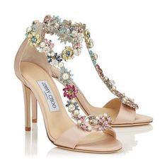 REIGN 100 Dusty Rose Satin Sandals with Camellia Mix Anklet https://www.loveandlavender.com/2017/03/jimmy-choo-wedding-shoes/ #weddingshoes