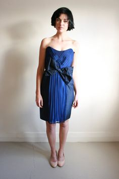 Cute Navy Cocktail dress with bow by NatalieChanBoutique on Etsy