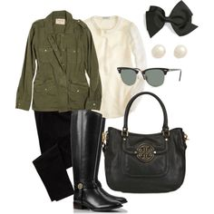 skinny black denim, ivory popover top, military jacket, black handbag, pearls