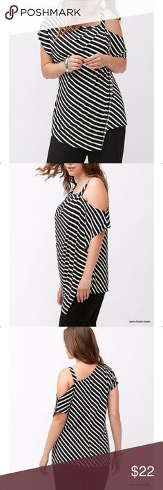LANE BRYANT Cold Shoulder Top NEW BACK IN STOCK!! Black and white stripes, asymmetrical neckline, left arm cold shoulder can be worn in or out of sleeve, shoulder strap on left shoulder, overlay in front with asymmetrical hem, straight hem in back, 95% polyester, 5% spandex, machine washable. Measurements: 14/16 bust-44 to50 (stretched). 18/20 bust-50 to 56 (stretched). 22/24 bust-52 to 60 (stretched). 26/28 bust-56 to 64 (stretched). NWOT Lane Bryant Tops